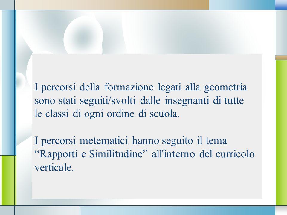 I percorsi della formazione legati alla geometria sono stati seguiti/svolti dalle insegnanti di tutte le classi di ogni ordine di scuola.