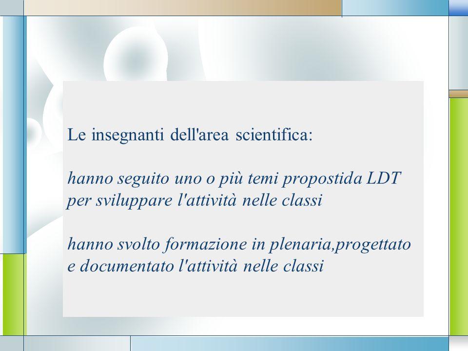 Le insegnanti dell area scientifica: hanno seguito uno o più temi propostida LDT per sviluppare l attività nelle classi hanno svolto formazione in plenaria,progettato e documentato l attività nelle classi