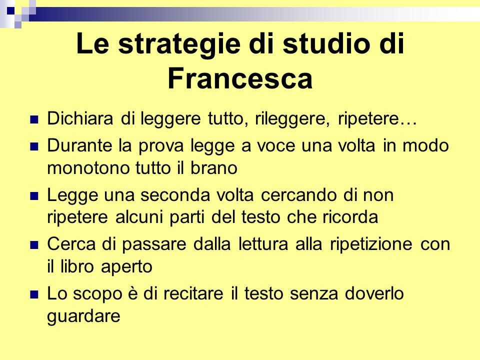 Le strategie di studio di Francesca