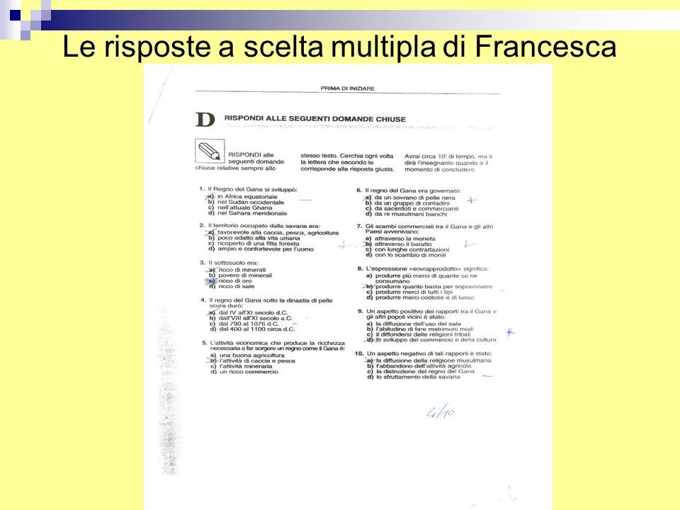 Le risposte a scelta multipla di Francesca