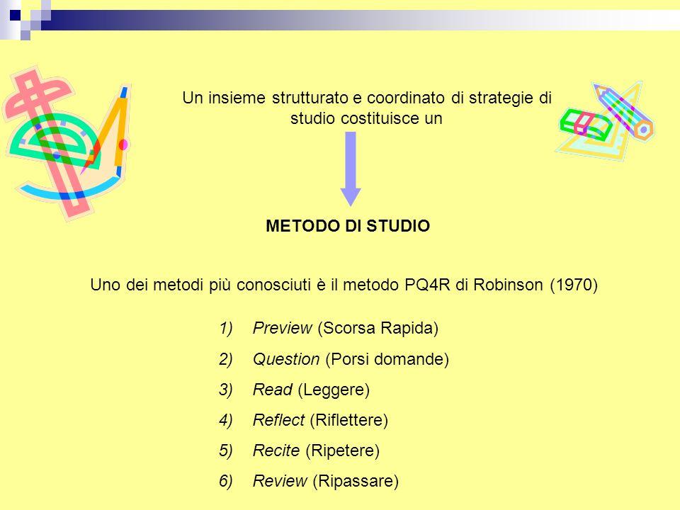 Un insieme strutturato e coordinato di strategie di studio costituisce un
