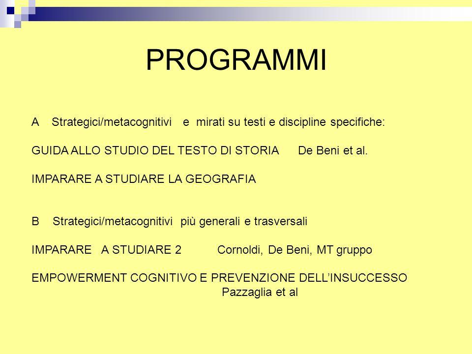 PROGRAMMI A Strategici/metacognitivi e mirati su testi e discipline specifiche: GUIDA ALLO STUDIO DEL TESTO DI STORIA De Beni et al.