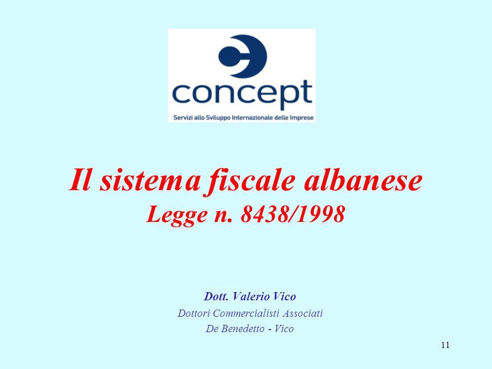 Il sistema fiscale albanese Legge n. 8438/1998