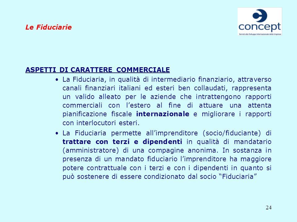 Le FiduciarieASPETTI DI CARATTERE COMMERCIALE.