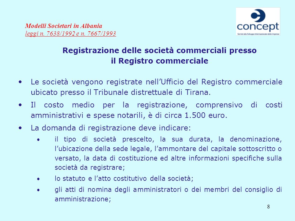 Modelli Societari in Albania leggi n. 7638/1992 e n. 7667/1993