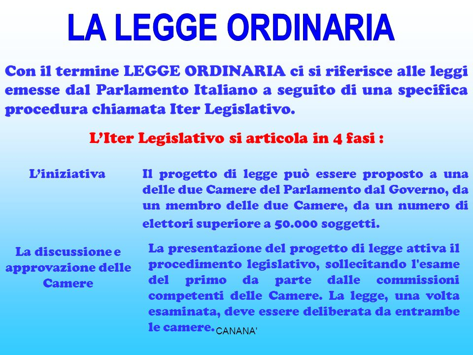 LA LEGGE ORDINARIA