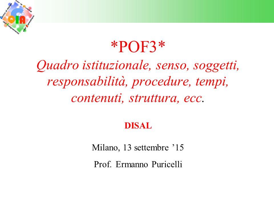 *POF3* Quadro istituzionale, senso, soggetti, responsabilità, procedure, tempi, contenuti, struttura, ecc.