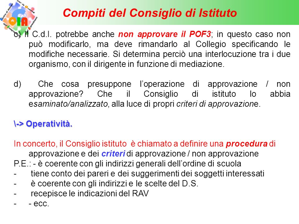 Compiti del Consiglio di Istituto