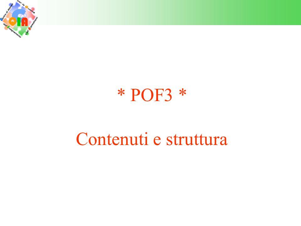 * POF3 * Contenuti e struttura