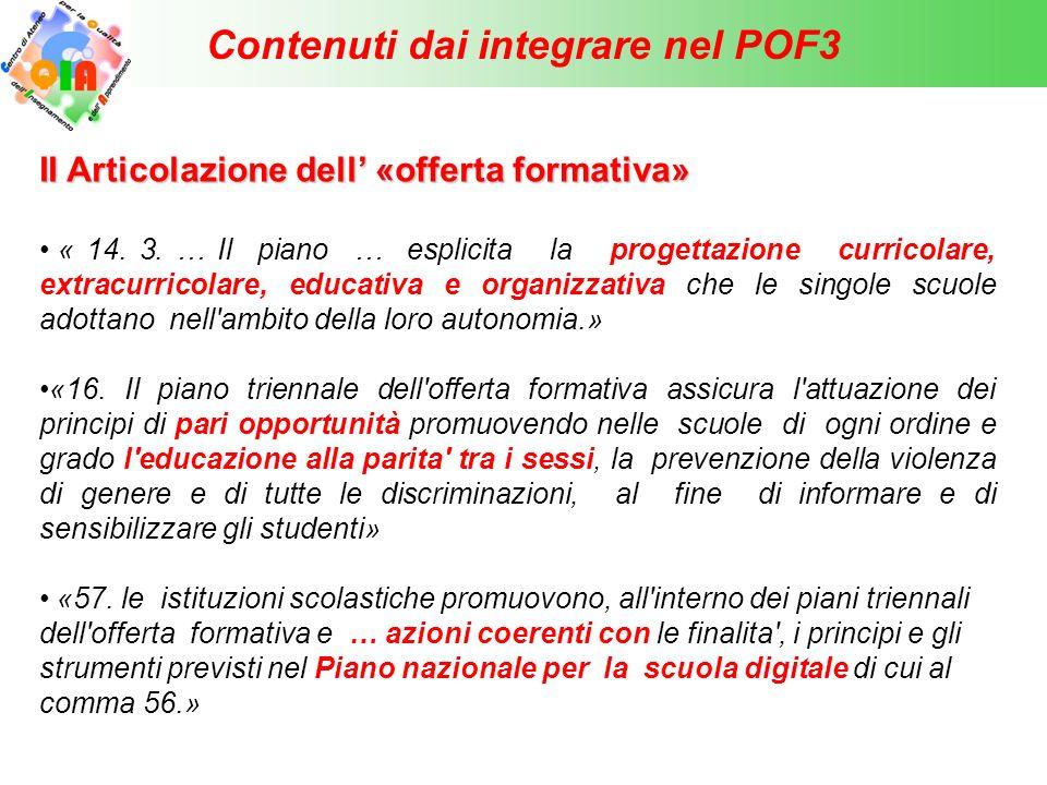 Contenuti dai integrare nel POF3