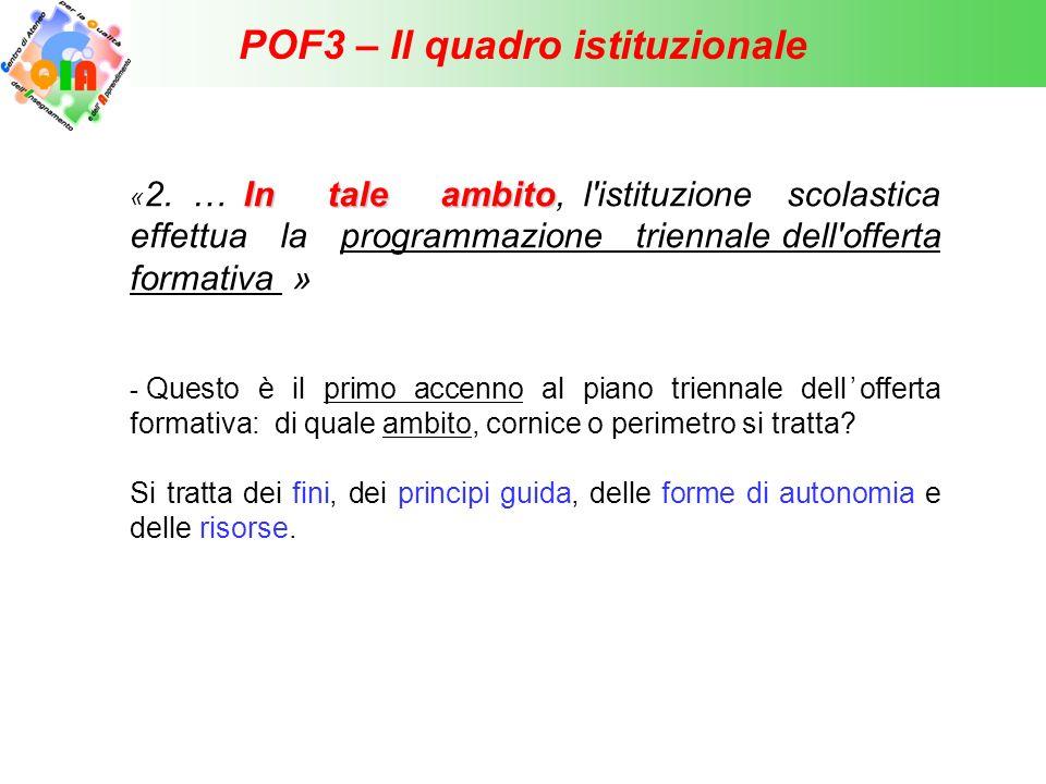POF3 – Il quadro istituzionale