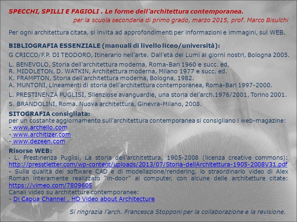 SPECCHI, SPILLI E FAGIOLI . Le forme dell'architettura contemporanea.
