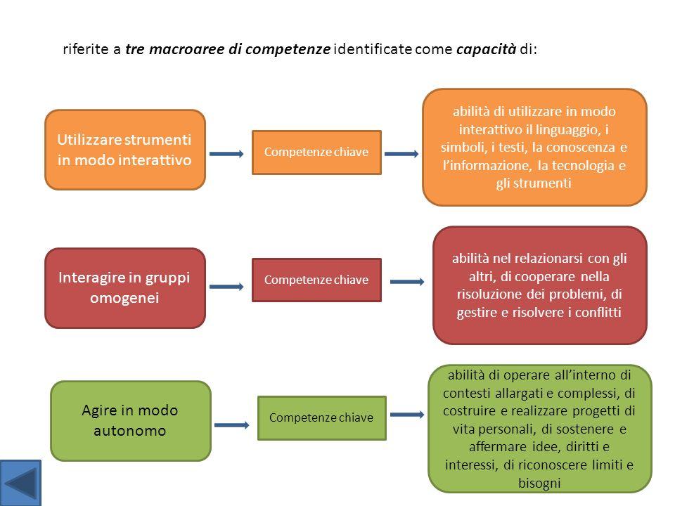 riferite a tre macroaree di competenze identificate come capacità di: