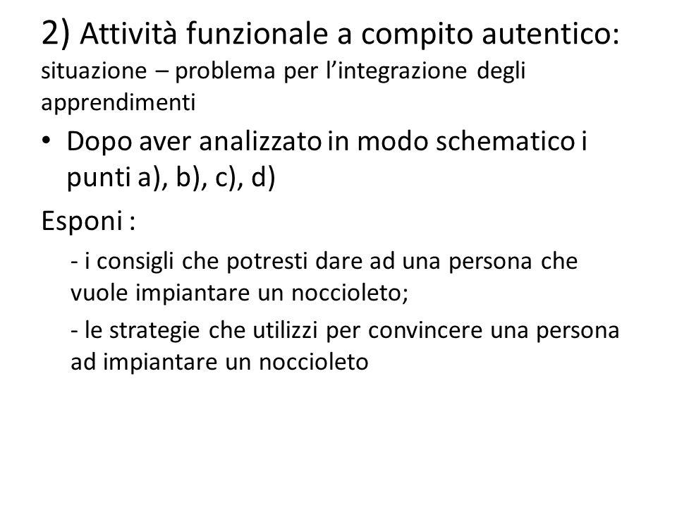 2) Attività funzionale a compito autentico: situazione – problema per l'integrazione degli apprendimenti