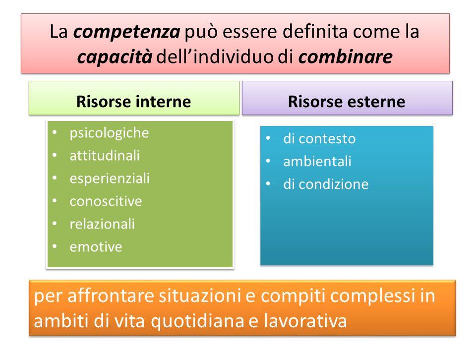 La competenza può essere definita come la capacità dell'individuo di combinare