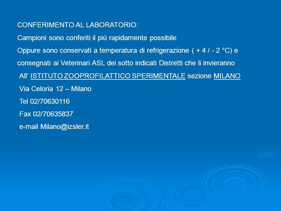 CONFERIMENTO AL LABORATORIO:
