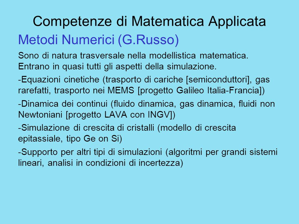 Competenze di Matematica Applicata
