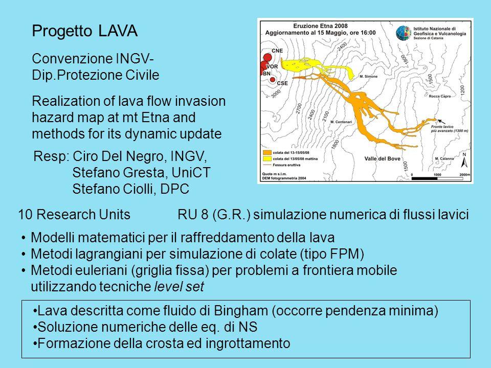 Progetto LAVA Convenzione INGV- Dip.Protezione Civile