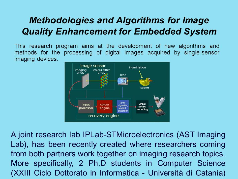 Methodologies and Algorithms for Image Quality Enhancement for Embedded System