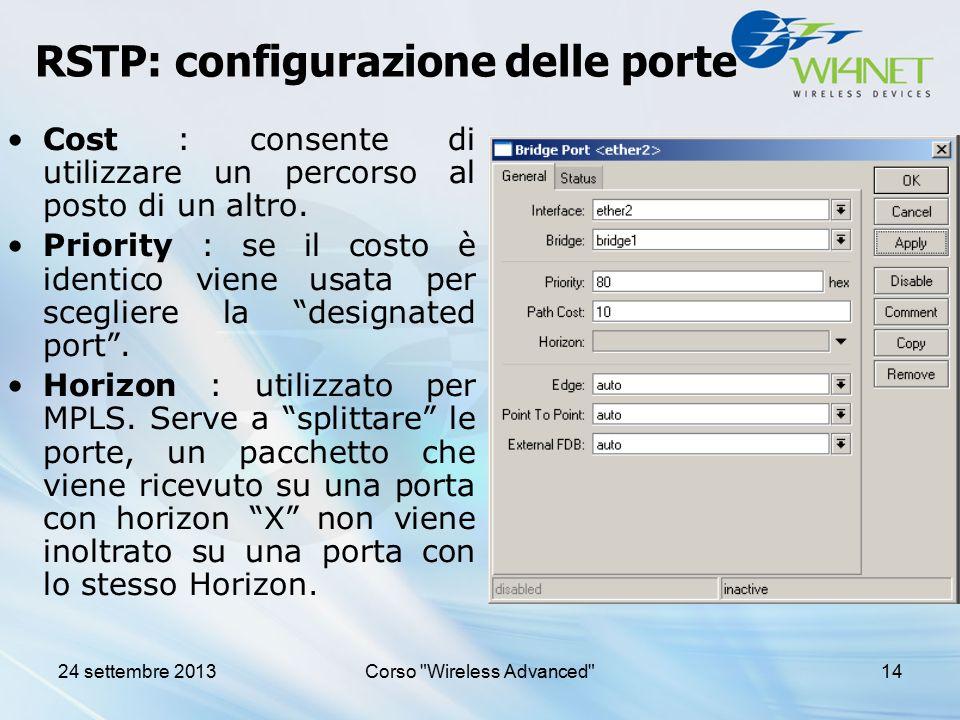 RSTP: configurazione delle porte