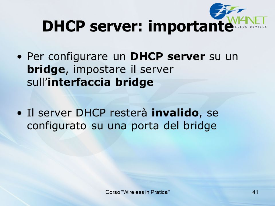 DHCP server: importante