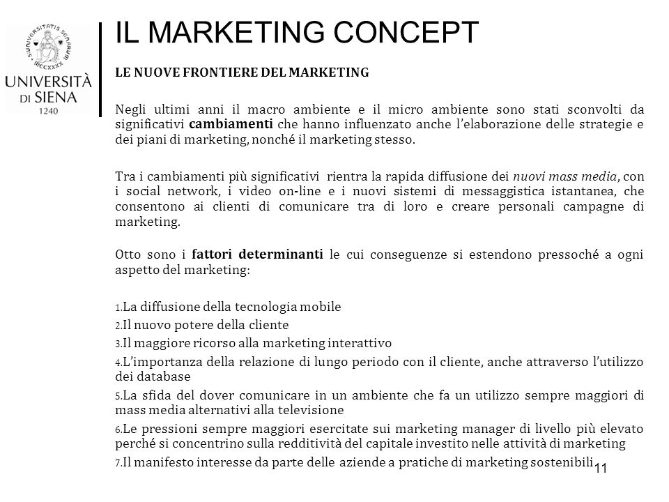 IL MARKETING CONCEPT LE NUOVE FRONTIERE DEL MARKETING