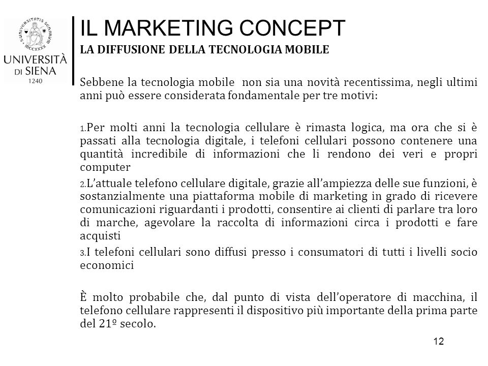 IL MARKETING CONCEPT LA DIFFUSIONE DELLA TECNOLOGIA MOBILE