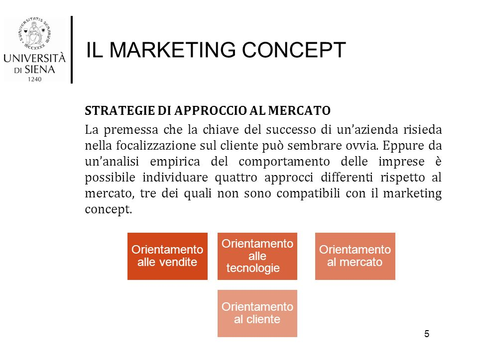 IL MARKETING CONCEPT STRATEGIE DI APPROCCIO AL MERCATO