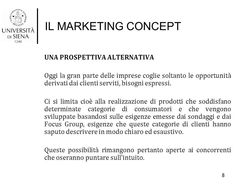 IL MARKETING CONCEPT