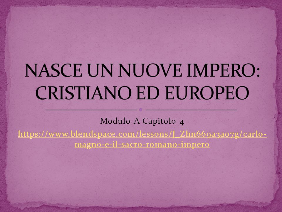 NASCE UN NUOVE IMPERO: CRISTIANO ED EUROPEO
