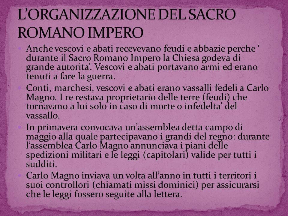 L'ORGANIZZAZIONE DEL SACRO ROMANO IMPERO