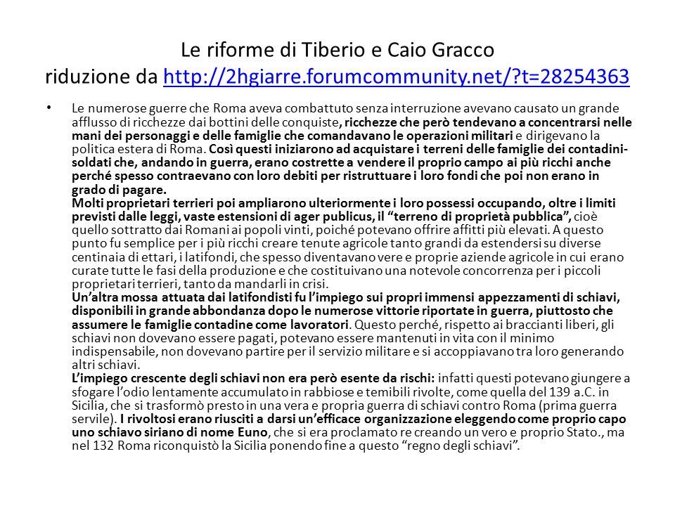 Le riforme di Tiberio e Caio Gracco riduzione da http://2hgiarre