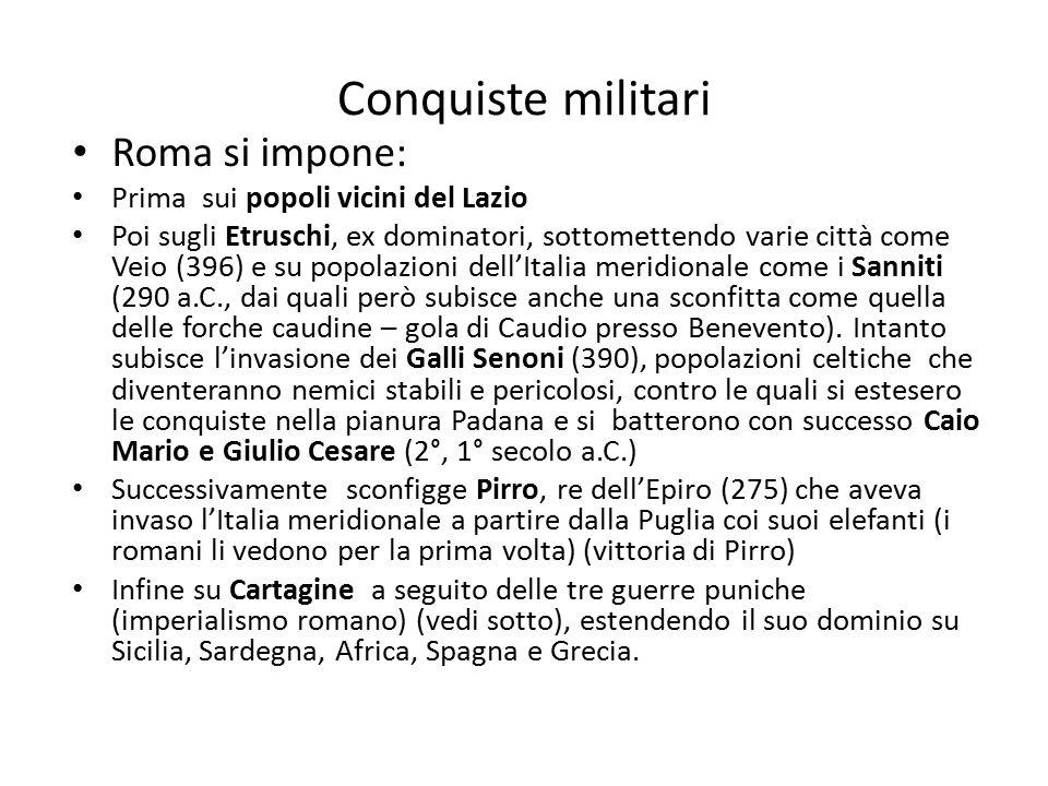 Conquiste militari Roma si impone: Prima sui popoli vicini del Lazio