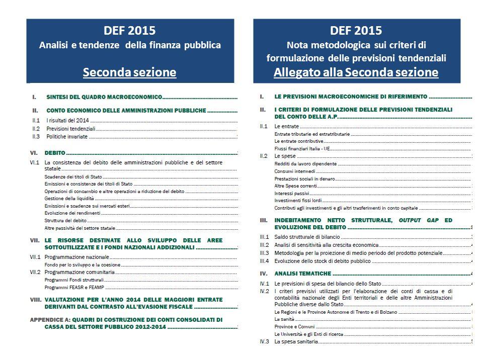 DEF 2015 Seconda sezione DEF 2015 Allegato alla Seconda sezione