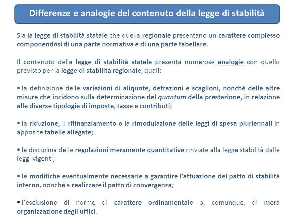 Differenze e analogie del contenuto della legge di stabilità