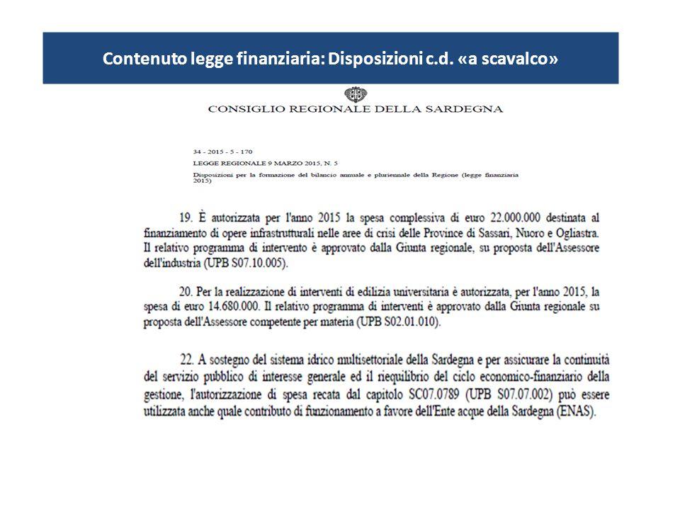 Contenuto legge finanziaria: Disposizioni c.d. «a scavalco»