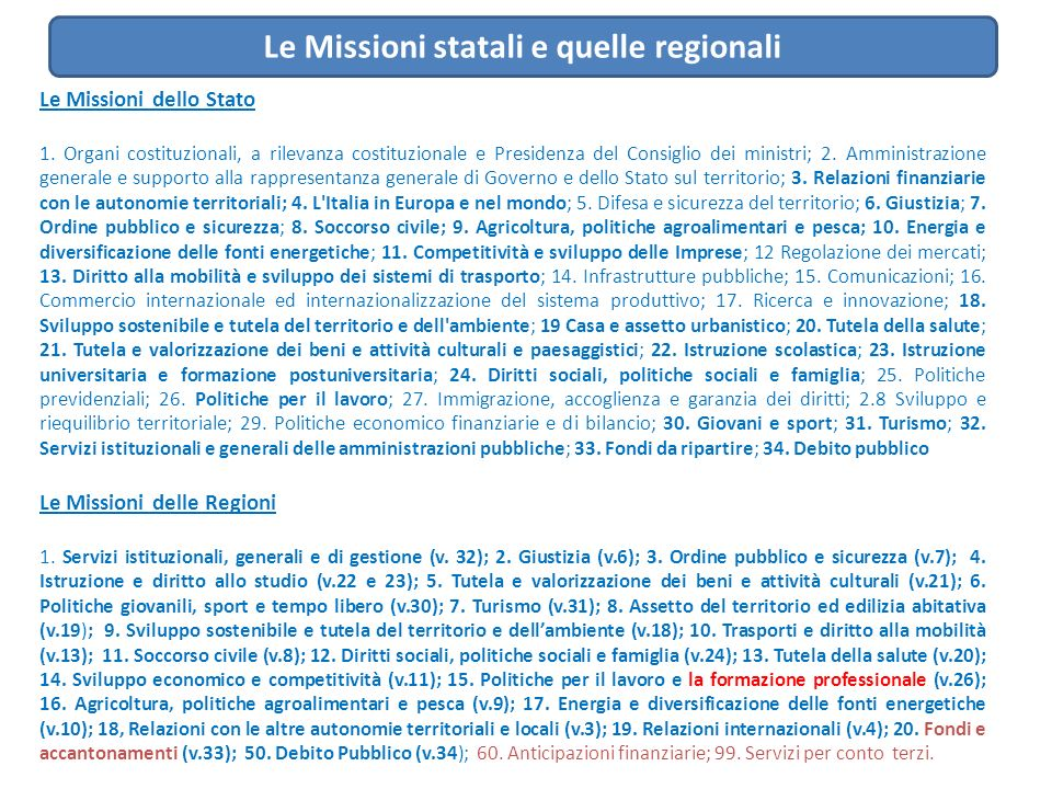 Le Missioni statali e quelle regionali