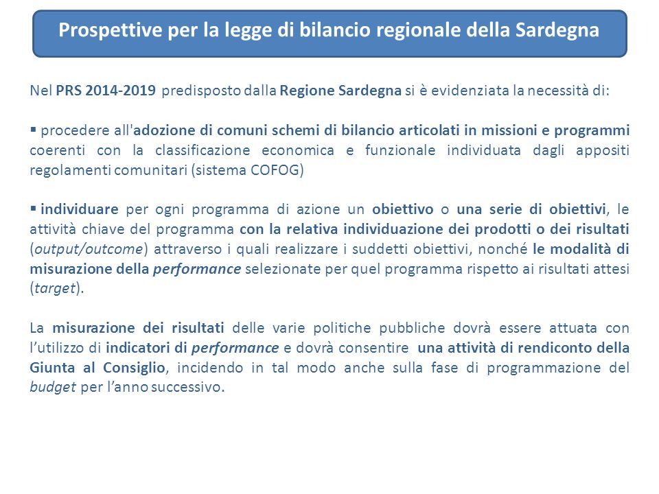 Prospettive per la legge di bilancio regionale della Sardegna