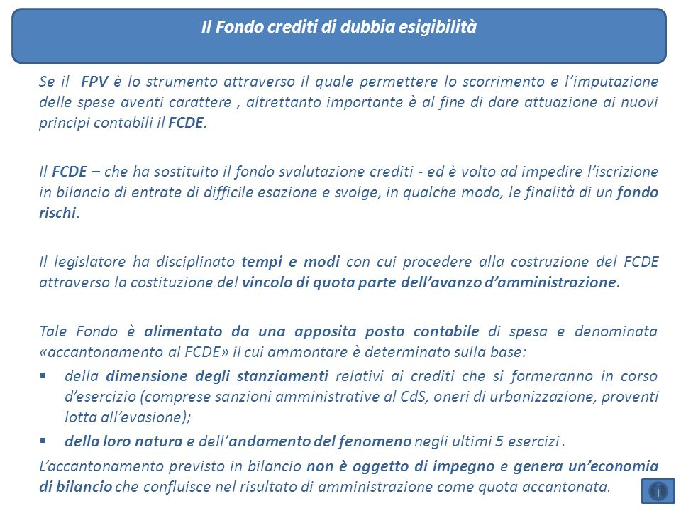 Il Fondo crediti di dubbia esigibilità