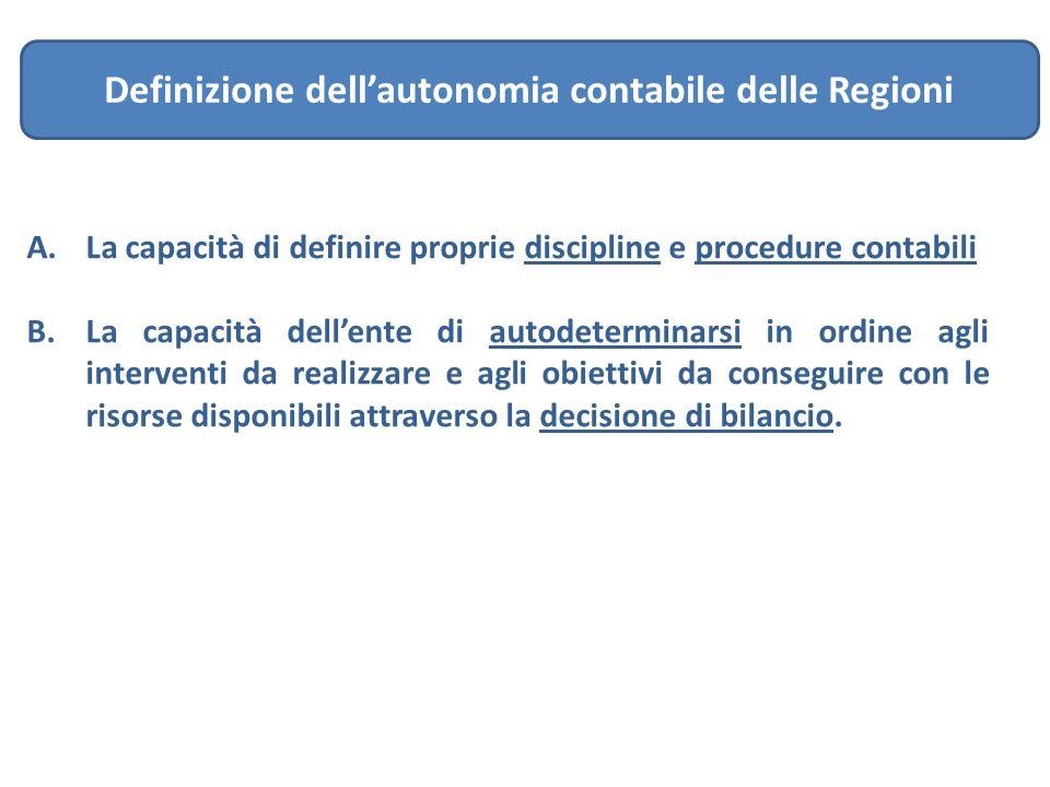 Definizione dell'autonomia contabile delle Regioni