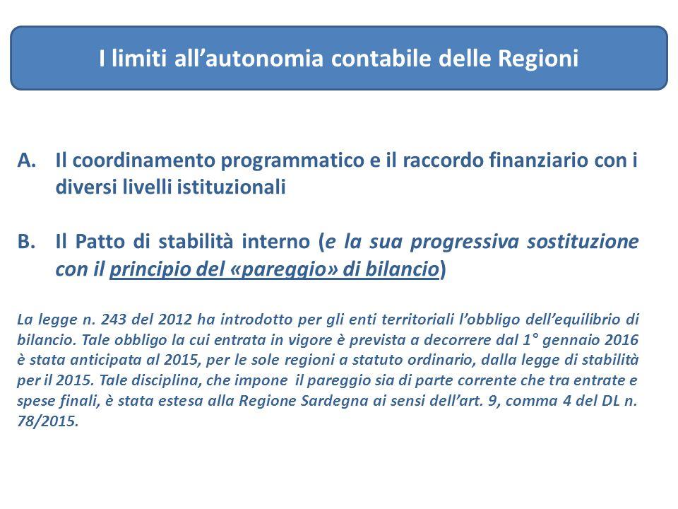 I limiti all'autonomia contabile delle Regioni