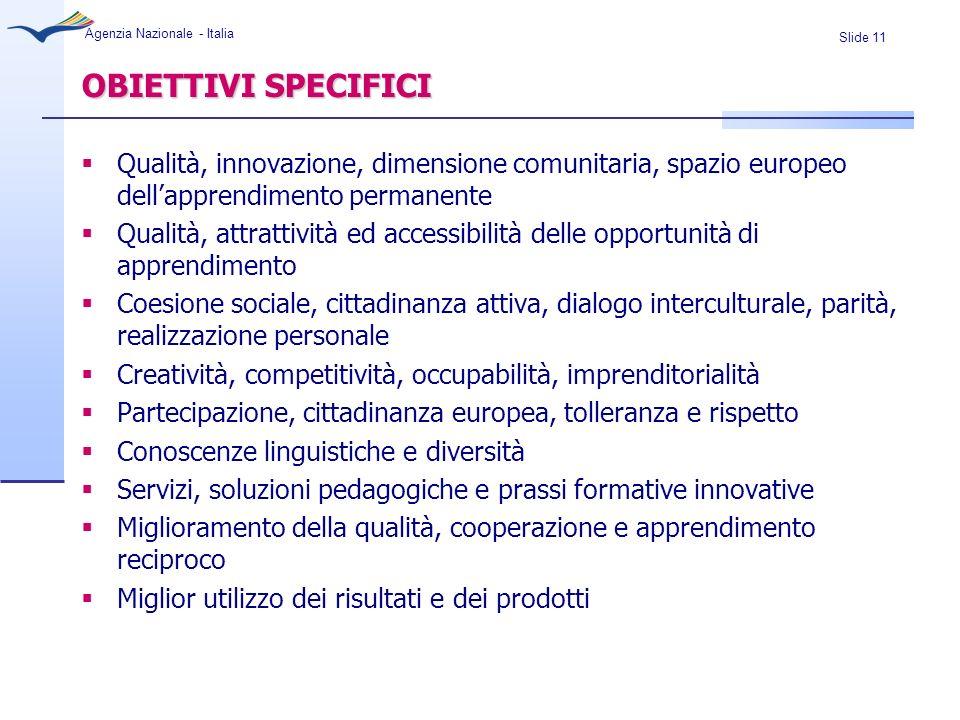 OBIETTIVI SPECIFICI Qualità, innovazione, dimensione comunitaria, spazio europeo dell'apprendimento permanente.