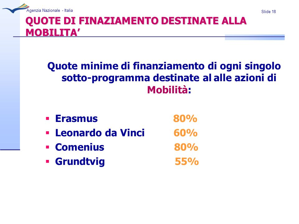 QUOTE DI FINAZIAMENTO DESTINATE ALLA MOBILITA'