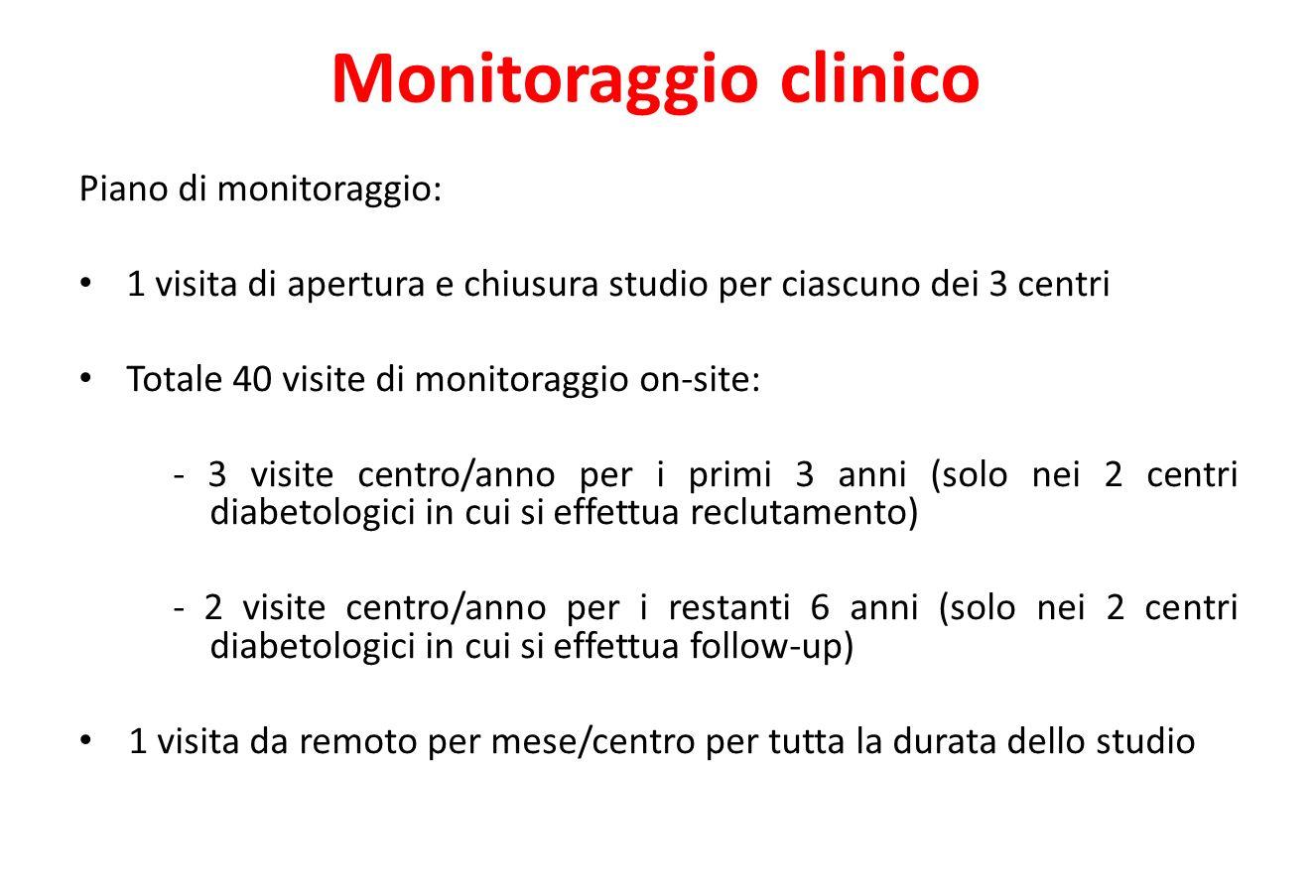 Monitoraggio clinico Piano di monitoraggio: