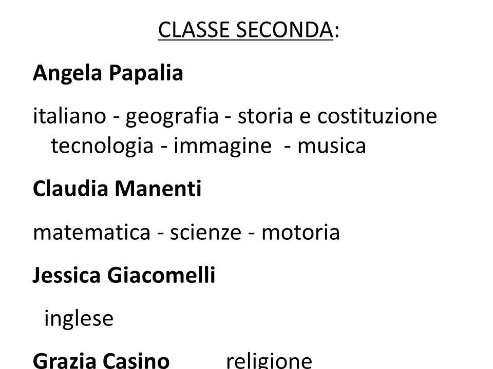 CLASSE SECONDA: Angela Papalia. italiano - geografia - storia e costituzione tecnologia - immagine - musica.