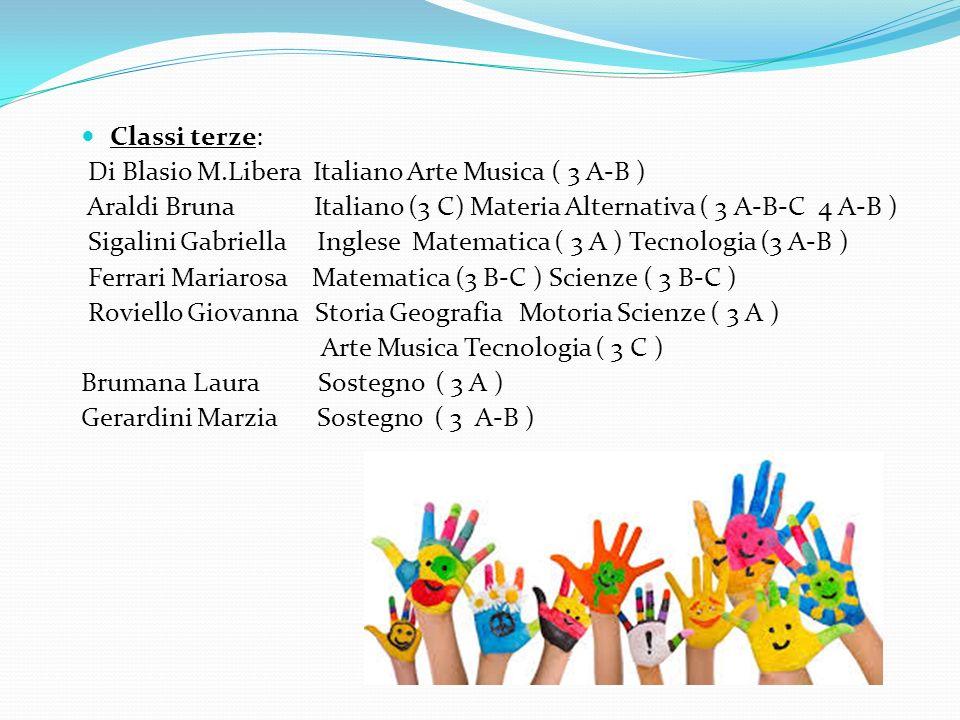 Classi terze: Di Blasio M.Libera Italiano Arte Musica ( 3 A-B ) Araldi Bruna Italiano (3 C) Materia Alternativa ( 3 A-B-C 4 A-B )