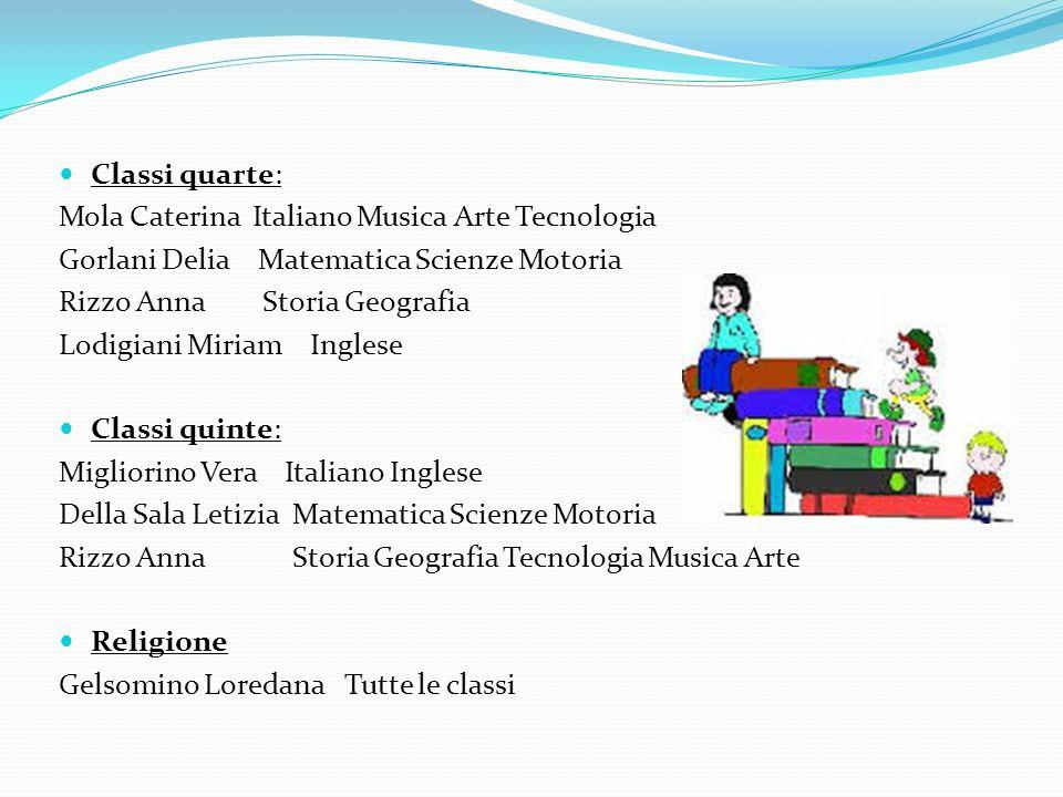 Classi quarte: Mola Caterina Italiano Musica Arte Tecnologia. Gorlani Delia Matematica Scienze Motoria.