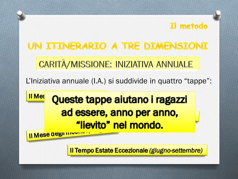 Il metodo UN ITINERARIO A TRE DIMENSIONI. CARITÀ/MISSIONE: INIZIATIVA ANNUALE. L'Iniziativa annuale (I.A.) si suddivide in quattro tappe :