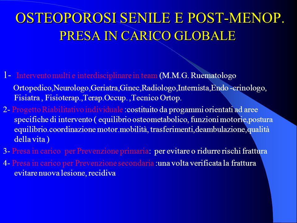 OSTEOPOROSI SENILE E POST-MENOP. PRESA IN CARICO GLOBALE
