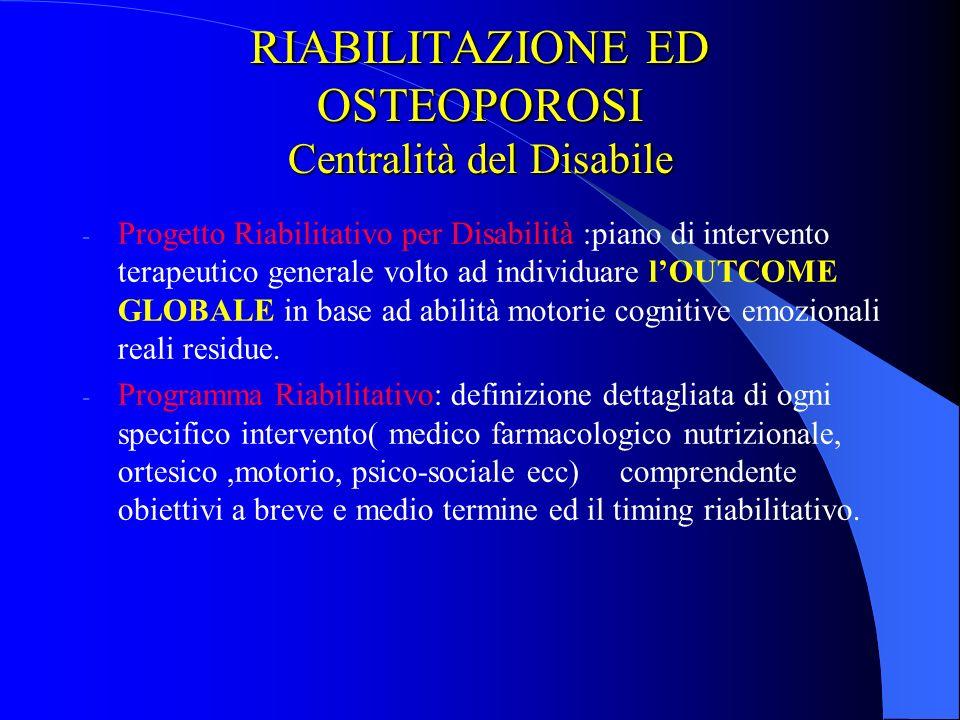 RIABILITAZIONE ED OSTEOPOROSI Centralità del Disabile